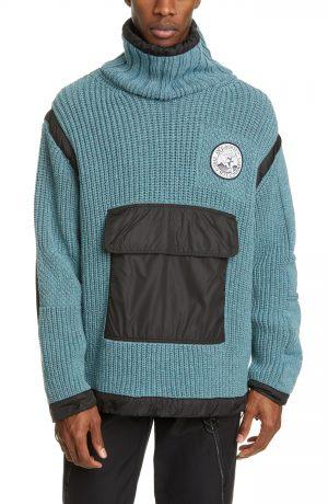 Men's Off-White Duality Patch Pocket Turtleneck Sweater, Size Medium - Blue