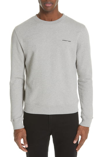 Men's Off-White Slim Fit Logo Sweatshirt, Size XX-Large - Grey