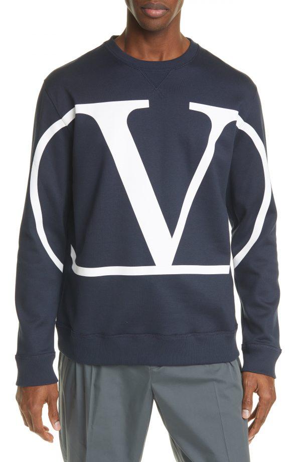 Men's Valentino Felpa V Logo Jersey Sweatshirt, Size Medium - Blue