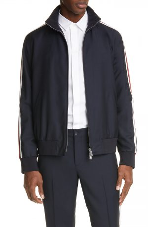 Men's Valentino Stripe Track Jacket, Size 46 EU - Blue