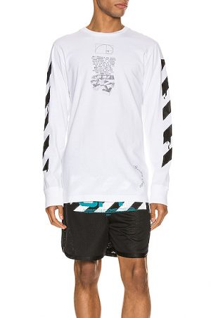 OFF-WHITE Dripping Arrows Long Sleeve Tee in White