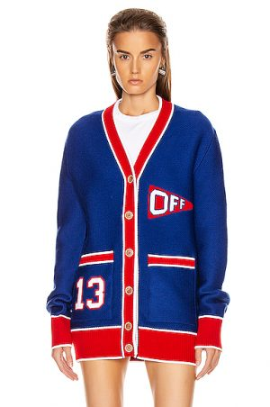 OFF-WHITE Flag Cardigan in Abstract,Blue,Red
