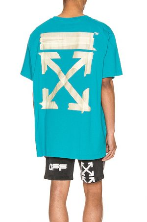 OFF-WHITE Tape Arrows Over Tee in Blue