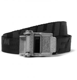 Off-White - 2.5cm Black 2.0 Industrial Logo-Jacquard Webbing Belt - Men - Black