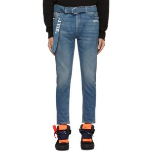 Off-White Blue Slim Low Crotch Jeans