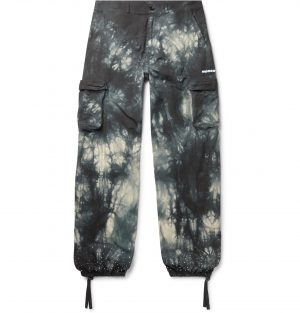 Off-White - Embellished Tie-Dyed Cotton-Ripstop Cargo Trousers - Men - Gray