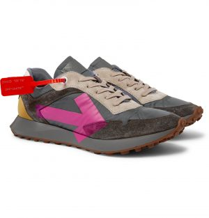 Off-White - Everyday Logo-Print Suede and Shell Sneakers - Men - Gray