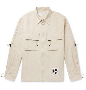 Off-White - Logo-Print Cotton-Blend Shirt - Men - Gray