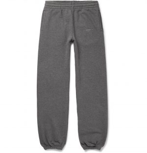 Off-White - Logo-Print Loopback Cotton-Jersey Sweatpants - Men - Gray