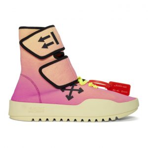 Off-White Pink and Yellow Moto Wrap Sneakers