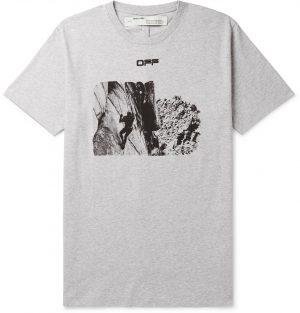 Off-White - Printed Cotton-Jersey T-Shirt - Men - Gray