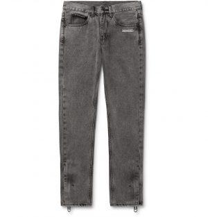 Off-White - Slim-Fit Logo-Print Stonewashed Denim Jeans - Men - Gray