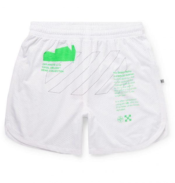 Off-White - Slim-Fit Printed Mesh Shorts - Men - White