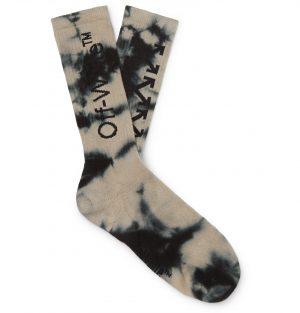 Off-White - Tie-Dyed Intarsia Cotton-Blend Socks - Men - Gray