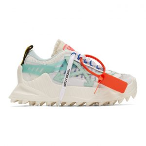 Off-White White and Blue Odsy-1000 Sneakers