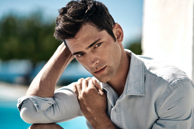 American model Sean O'Pry stars in Orlebar Brown's high summer 2020 campaign.