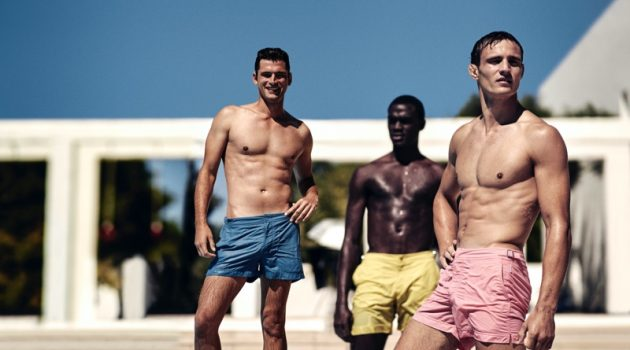 Models Sean O'Pry, Davidson Obennebo, and Julian Schneyder star in Orlebar Brown's high summer 2020 campaign.