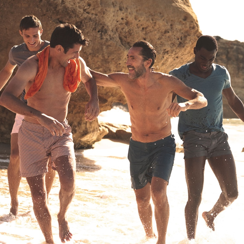 Orlebar Brown enlists models Julian Schneyder, Sean O'Pry, Adrian Prevost, and Davidson Obennebo as the stars of its spring-summer 2020 campaign.