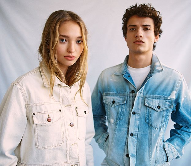 Models Milena Ionna and Serge Rigvava come together in spring denim from Pepe Jeans.