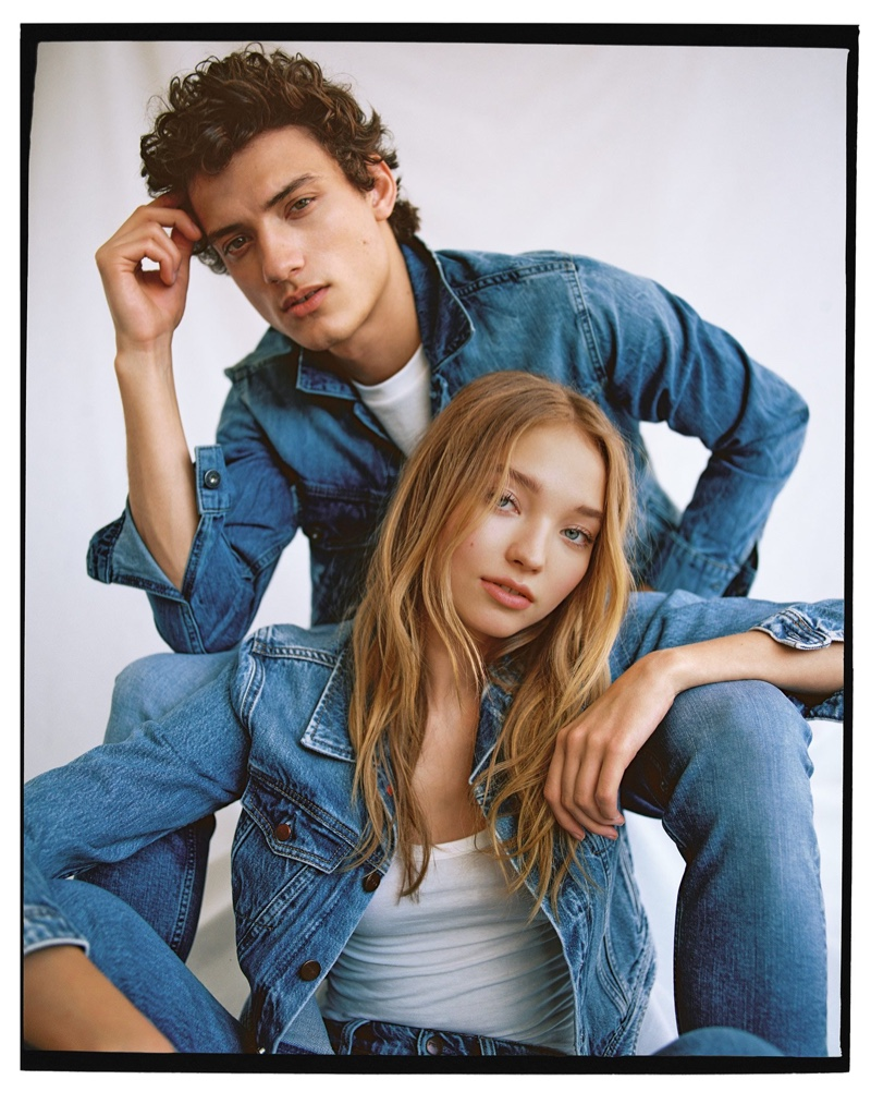 Showcasing blue denim for men and women, models Serge Rigvava and Milena Ionna wear Pepe Jeans.