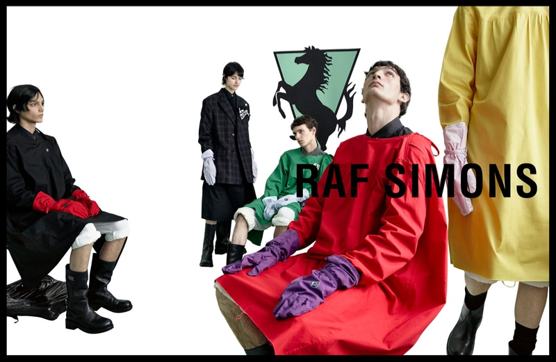 Dries Haseldonckx, Ilona Desmet, Daan Duez, Luca Lemaire, and Maoro Bultheel appear in Raf Simons' spring-summer 2020 campaign.
