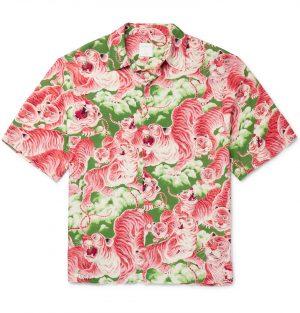 Sandro - Printed Crepe de Chine Shirt - Men - Pink
