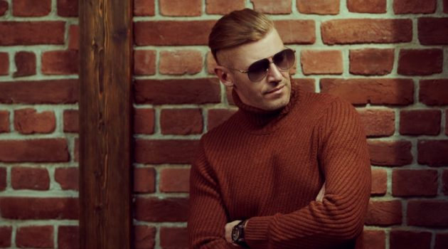 Stylish Man Turtleneck Sweater Aviator Sunglasses