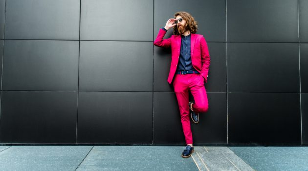 Stylish Man in Colorful Suit