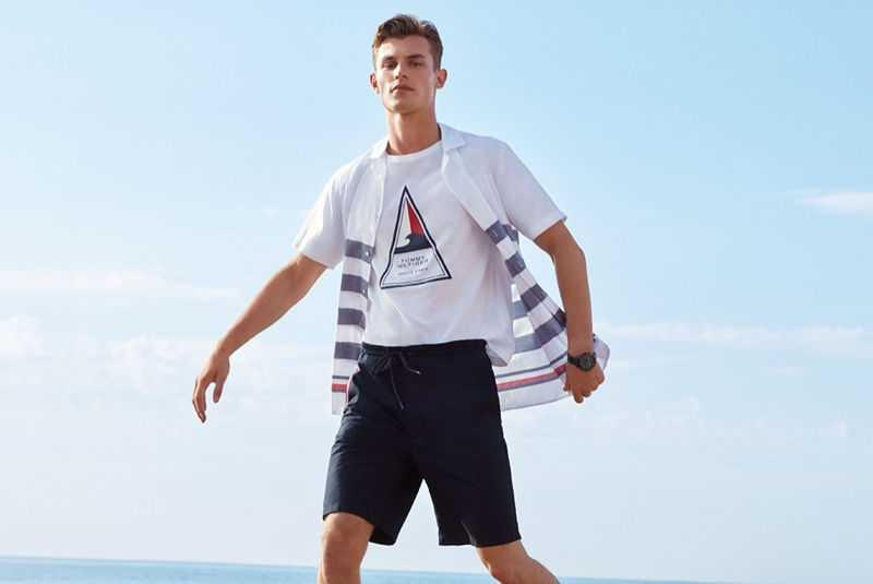 A relaxed vision, Kit Butler models Tommy Hilfiger.