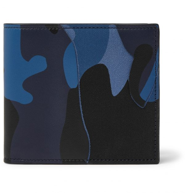 Valentino - Valentino Garavani Camouflage-Print Canvas and Leather Billfold Wallet - Men - Blue