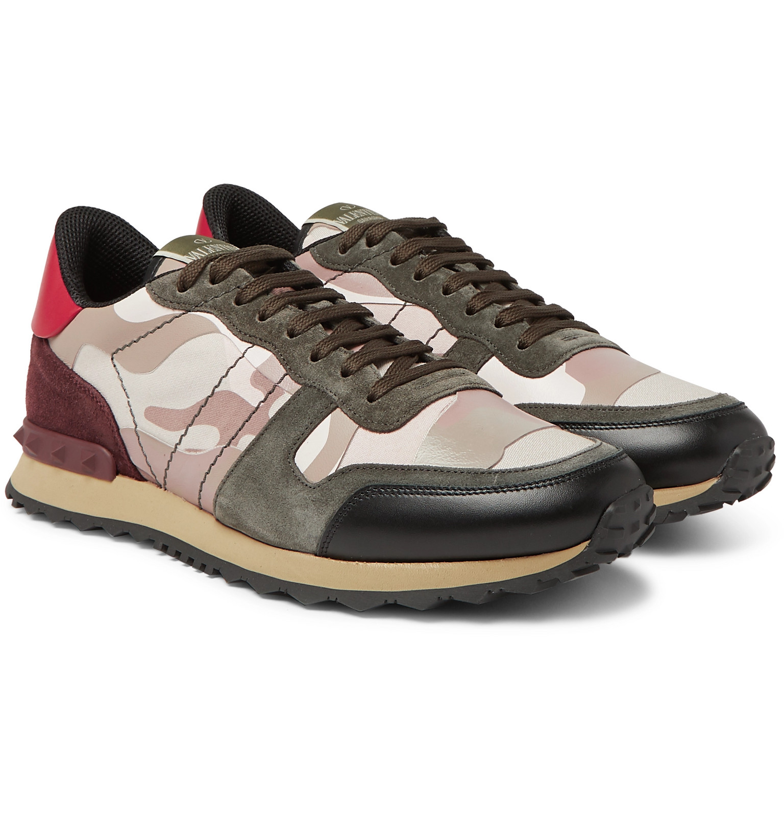 Leather Sneakers - Men - Pink