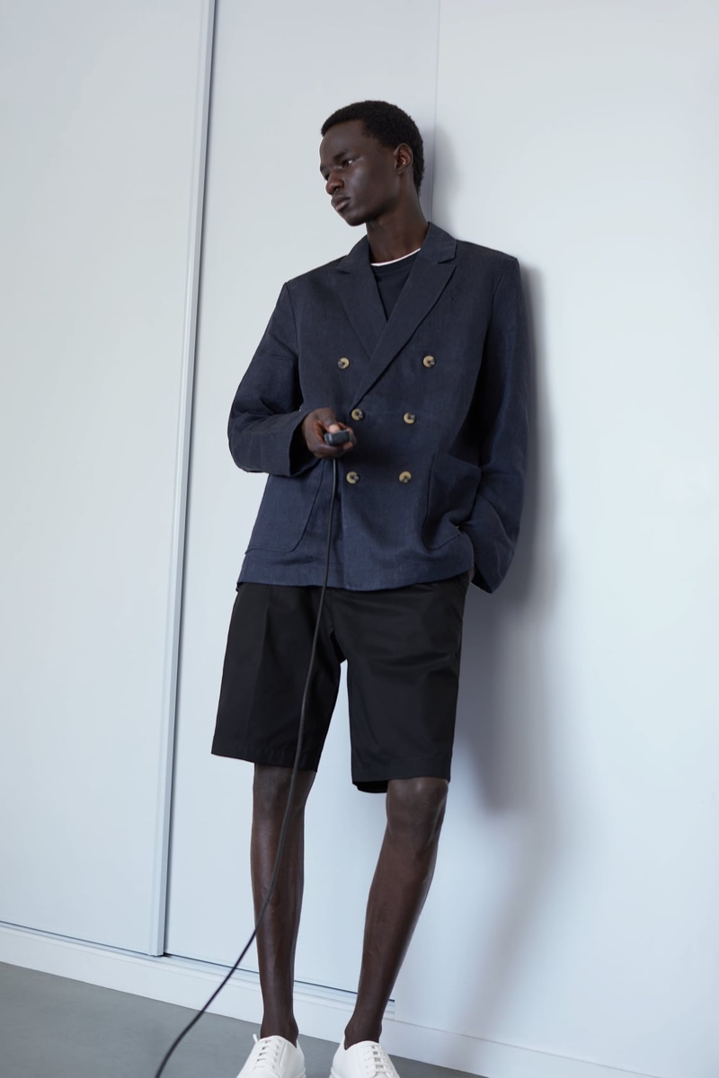 Malick Bodian sports a double-breasted linen blazer from Zara's Join Life collection.