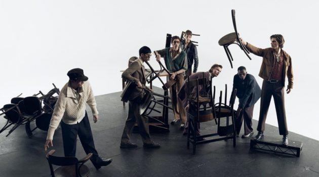 Models Rocky Harwood, Jun Young Hwang, Henry Kitcher, Leon Dame, Jonas Glöer, Oumar Diouf, and Erik van Gils star in Zara's spring-summer 2020 campaign.