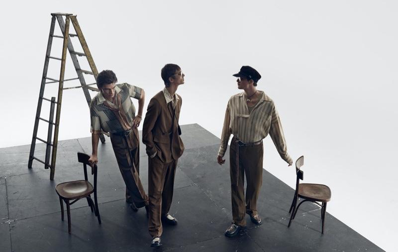 Erik van Gils, Leon Dame, and Rocky Harwood appear in Zara's spring-summer 2020 campaign.
