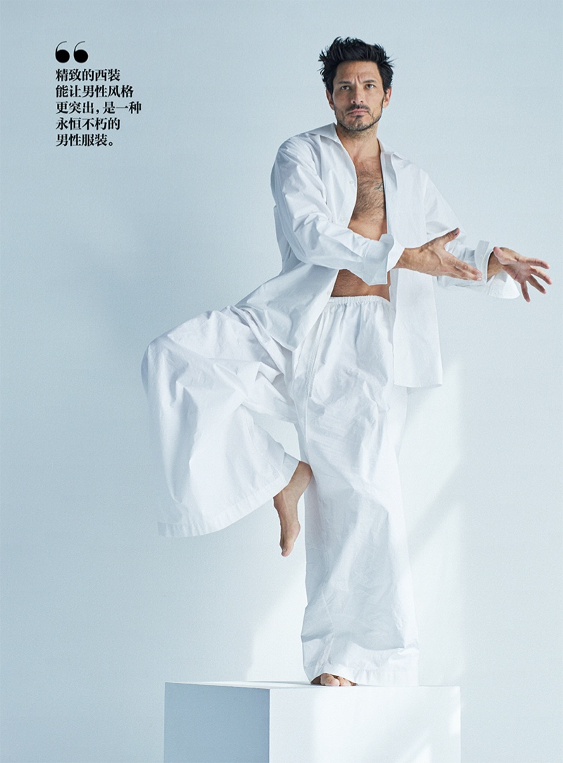 Andres Rocks White Fashions for GQ China