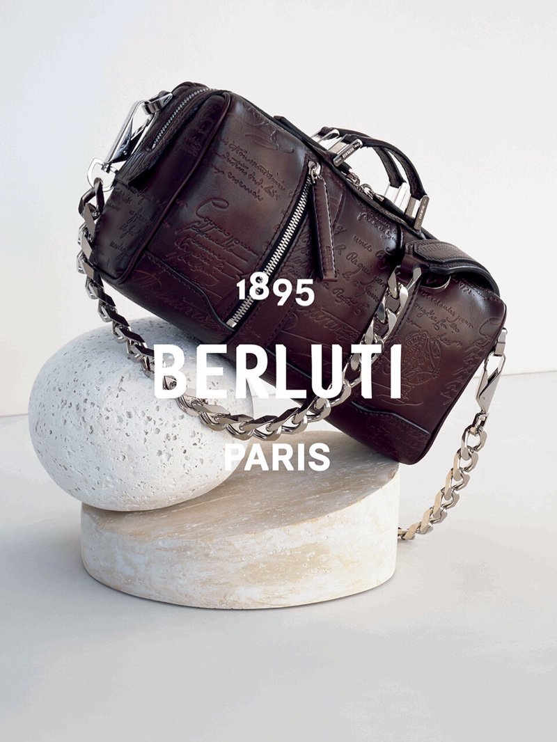 Erwan Frotin photographs one of Berluti's luxurious leather bags for the brand's summer 2020 campaign.