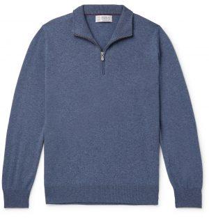 Brunello Cucinelli - Cashmere Half-Zip Sweater - Men - Blue