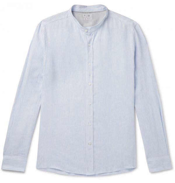 Brunello Cucinelli - Grandad-Collar Striped Linen and Cotton-Blend Gauze Shirt - Men - Blue