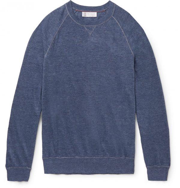 Brunello Cucinelli - Mélange Linen and Cotton-Blend Sweater - Men - Blue