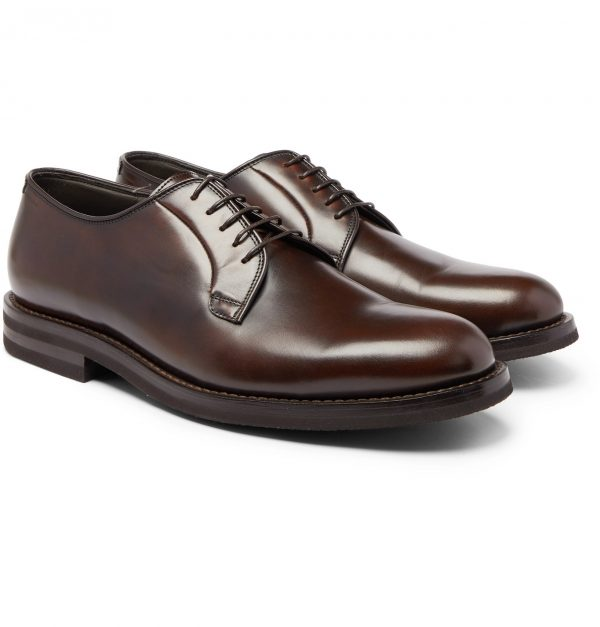 Brunello Cucinelli - Polished-Leather Derby Shoes - Men - Brown
