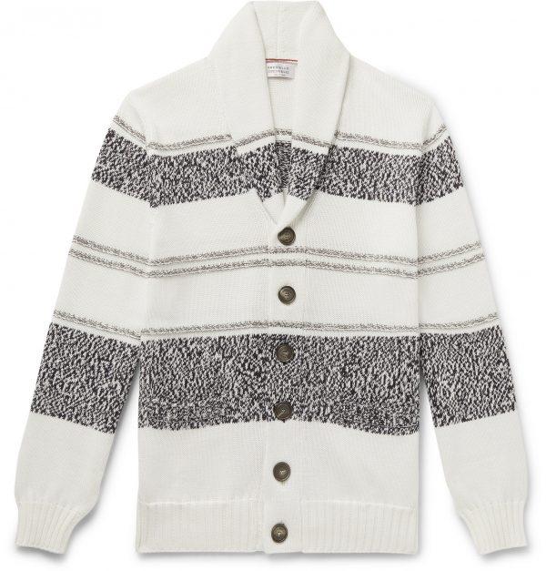 Brunello Cucinelli - Shawl-Collar Striped Cotton Cardigan - Men - White