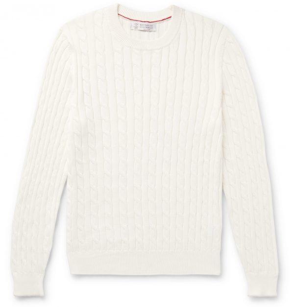 Brunello Cucinelli - Slim-Fit Cable-Knit Cotton Sweater - Men - White