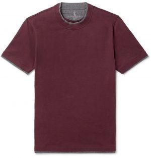 Brunello Cucinelli - Slim-Fit Layered Cotton-Jersey T-Shirt - Men - Burgundy