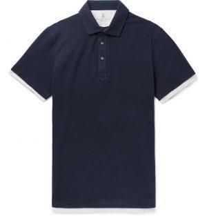 Brunello Cucinelli - Slim-Fit Layered Cotton-Piqué Polo Shirt - Men - Blue