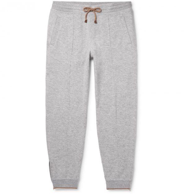 Brunello Cucinelli - Slim-Fit Tapered Cashmere-Blend Jersey Sweatpants - Men - Gray