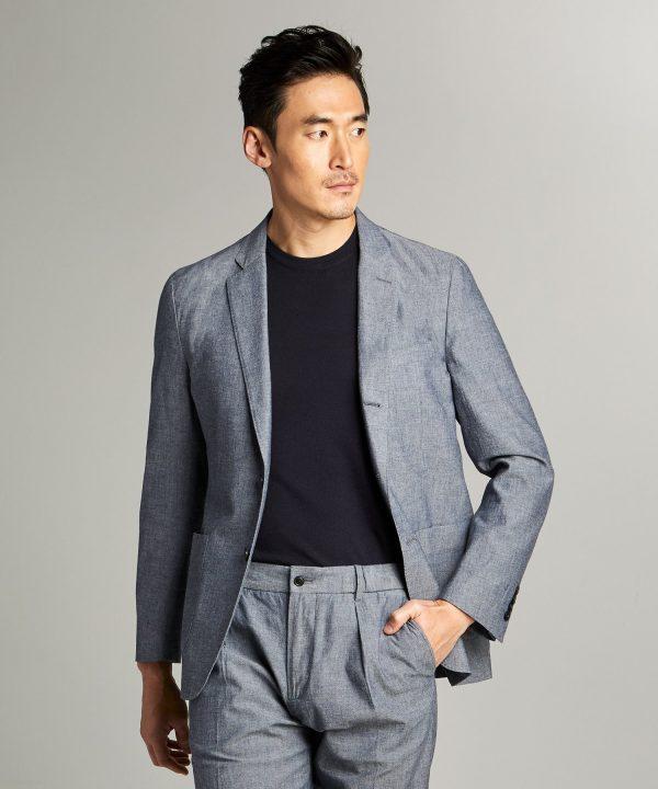 Chambray Traveler Suit Jacket in Indigo