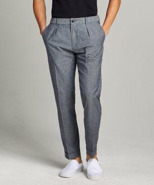 Chambray Traveler Suit Trouser in Indigo