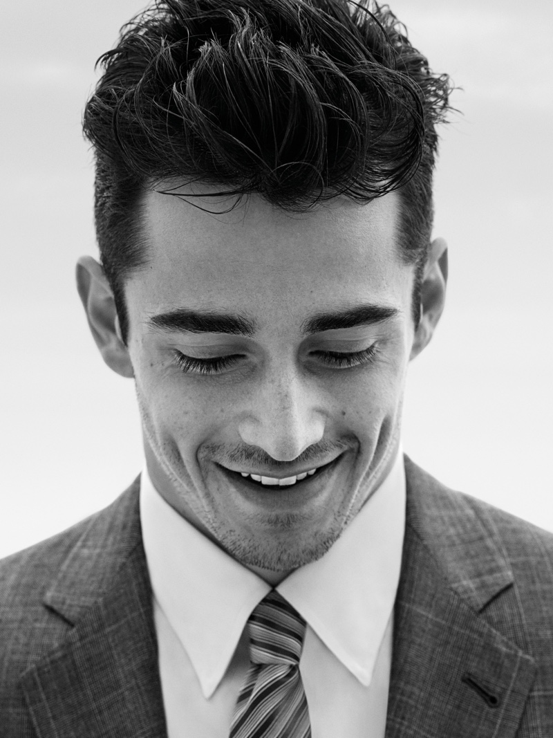 All smiles, Charles Leclerc is the face of Giorgio Armani Made to Measure's spring-summer 2020 campaign.