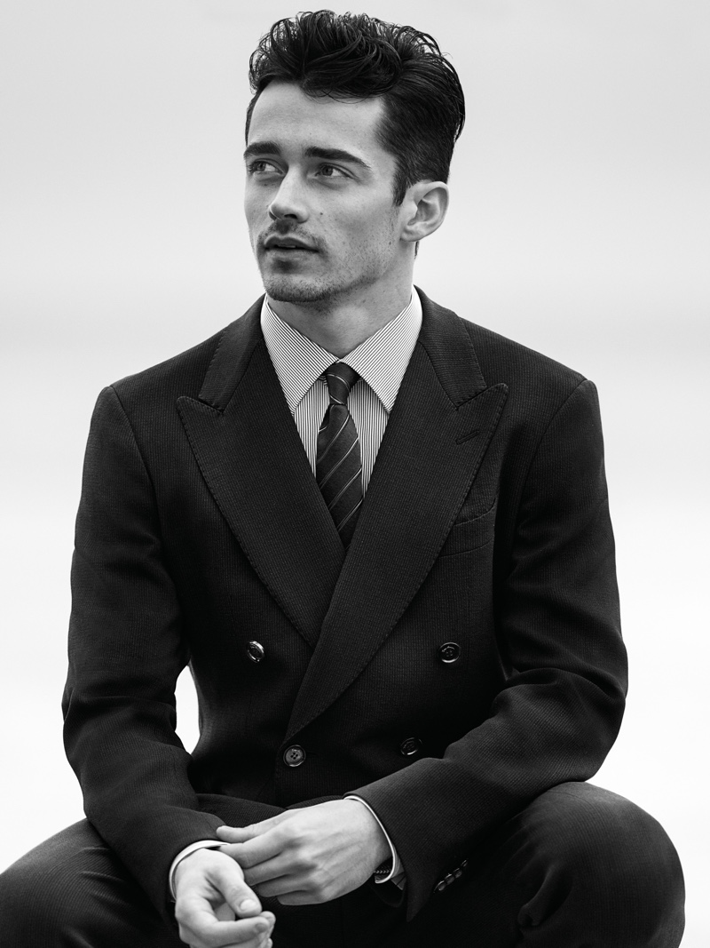 Monégasque racing driver Charles Leclerc fronts Giorgio Armani Made to Measure's spring-summer 2020 campaign.