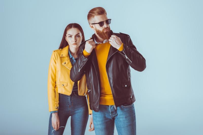 Couple Leather Jackets Jeans Stylish Fashion